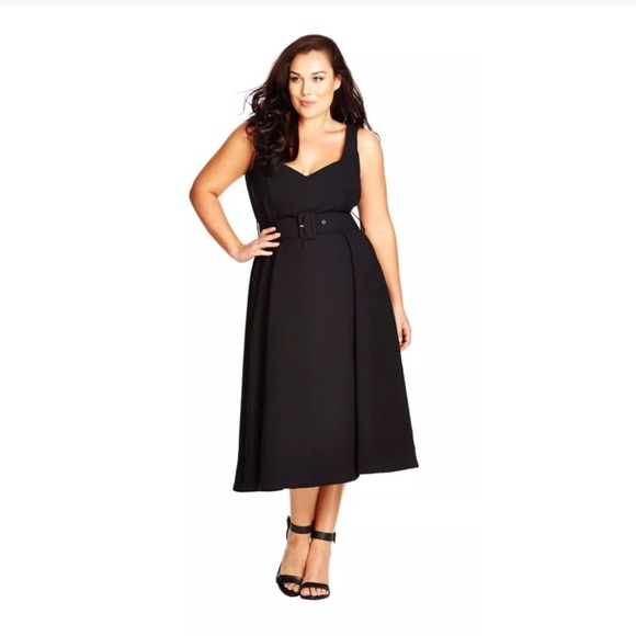 95473b830f7 City Chic Belted Tea Length Black Dress